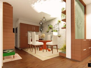 Premium Interior Design for a 3 BHK Apartment at Mantri Serene Chennai Modern dining room by Aikaa Designs Modern Wood Wood effect