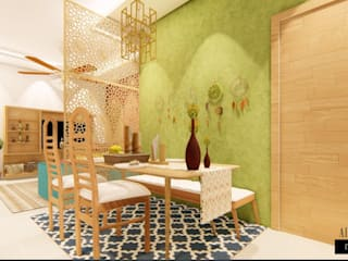Bohemian Styled Premium Interiors for a 3 BHK at Bangalore:  Dining room by Aikaa Designs