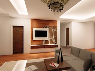 Elegant Interiors for a 3 BHK VILLA at Chennai:  Living room by Aikaa Designs