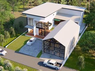 บ้านพักอาศัย 2 ชั้น พร้อมสระว่ายน้ำในตัวบ้าน คนมีหนวดดีไซน์ บ้านเดี่ยว คอนกรีต