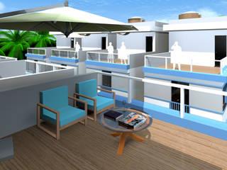 Condomínio de residências triplex Varandas, alpendres e terraços modernos por ARQ-PB Arquitetura e Construção Moderno
