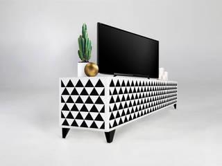 Szafka rtv z wzorem w trójkąty TRIXIE: styl , w kategorii  zaprojektowany przez Natti - meble z wzorem