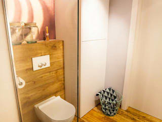 łazienka w gresie drewnopodobnym Skandynawska łazienka od Limonki studio Wojciech Siudowski Skandynawski