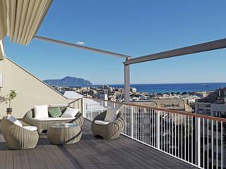 ISOLA_ Un elegante attico nel quartiere di Albaro Balcone, Veranda & Terrazza in stile moderno di Giulia Grillo Architetto Moderno