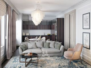 Современная классика в светлых тонах в интерьере квартиры: Гостиная в . Автор – Архитектурное бюро «Парижские интерьеры»