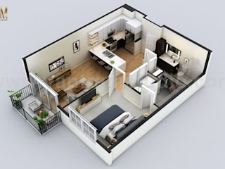 Small Residential Apartment Floor Plan Design Company by 3D Architectural Design, Cape Town - South Africa Yantram Architectural Design Studio Modern