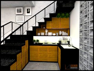 tiny house industrial CV Leilinor Architect Small kitchens Brown