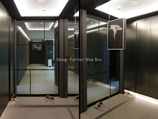 Modern corridor, hallway & stairs by Design Partner Blue box Modern