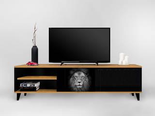 Szafka RTV - LION : styl , w kategorii  zaprojektowany przez Natti - meble z wzorem