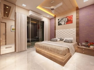 3BHK home design in Ghansoli, Mumbai :  Bedroom by Square 4 Design & Build,