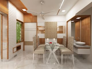 3BHK home design in Ghansoli, Mumbai :  Dining room by Square 4 Design & Build,