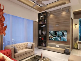 3BHK home design at Lodha in Thane, Mumbai :  Living room by Square 4 Design & Build,