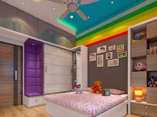 3BHK home design at Lodha in Thane, Mumbai :  Bedroom by Square 4 Design & Build,
