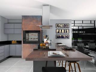 Área Gourmet: Armários e bancadas de cozinha  por Projeto 3D Online