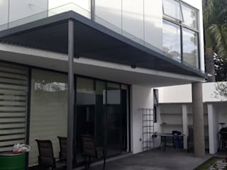 vertikal Balcon, Veranda & Terrasse modernes Verre Gris