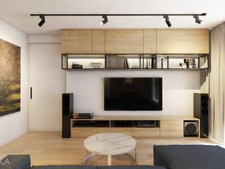 Apartament w Krakowie: styl , w kategorii Salon zaprojektowany przez TIKA DESIGN