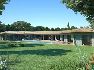 Renders 3D - Views of facades of single-family homes de Realistic-design Mediterráneo
