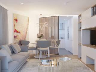Apartamento T2 Braga: Salas de estar  por Fachada Arquitectos,Moderno