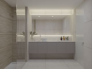 Apartamento T2 Braga: Casas de banho  por Fachada Arquitectos,Moderno