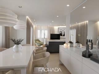 Apartamento T3 Braga: Salas de jantar  por Fachada Arquitectos,Moderno
