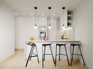 Apartamento T3 Braga: Armários de cozinha  por Fachada Arquitectos,Moderno
