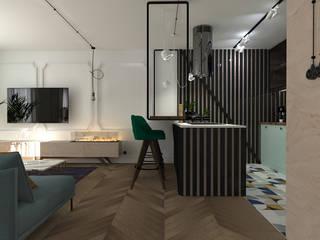 mieszkanie//89 Eklektyczny salon od TOTAMSTUDIO pracownia architektury wnętrz Eklektyczny