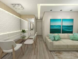 Apartamento jovem casal: Salas de estar  por CG arquitetura e interiores,Moderno