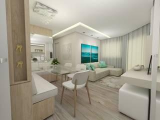 Apartamento jovem casal: Salas de jantar  por CG arquitetura e interiores,Moderno