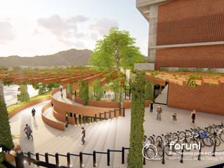 FORUNI Residencias para estudiantes de la UANL: Jardines en la fachada de estilo  por Well Arquitectura