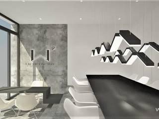 Projekt biura Pracowni Projektowania Wnętrz Wkwadrat Architekt Wnętrz Toruń Przestrzenie biurowe i magazynowe Beton Szary