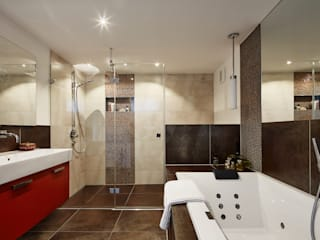 Modern Three Storey Townhouse Bennett Baufritz (UK) Ltd. Salle de bainBaignoires & douches Tuiles Beige
