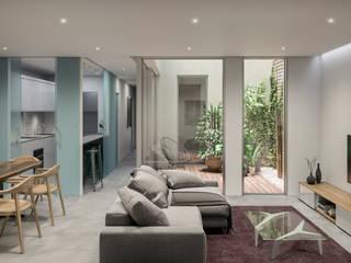 Renders para edificio residencial Salones de estilo minimalista de Visualfabrik Minimalista