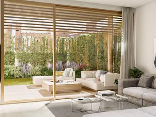 Diseño interior 3D en Madrid Salones de estilo moderno de Visualfabrik Moderno