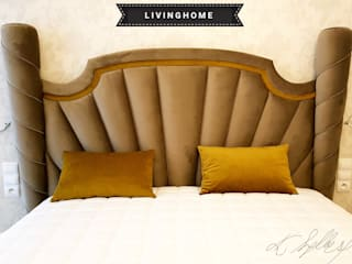 livinghome wnętrza Katarzyna Sybilska BedroomBeds & headboards Textile Amber/Gold