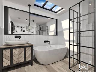 Łazienka w stylu loftowym Wkwadrat Architekt Wnętrz Toruń Minimalistyczna łazienka Drewno Biały