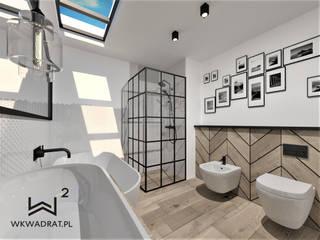 Łazienka w stylu loftowym Wkwadrat Architekt Wnętrz Toruń Industrialna łazienka Drewno Biały