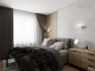 Трёхкомнатная квартира для молодой семьи на востоке Москвы. Спальня в скандинавском стиле от TOL architects Скандинавский