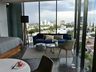TORRE BQ vertikal Hoteles de estilo moderno Vidrio Negro