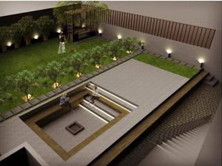 Residence for Mr Patel in Bangalore:  Front yard by Studio . abhilashnarayan
