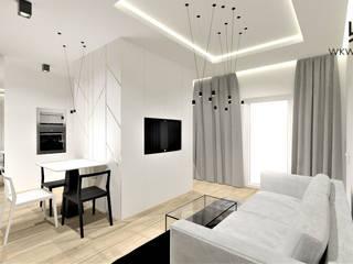 Mieszkanie w Warszawie Wkwadrat Architekt Wnętrz Toruń Nowoczesny salon Drewno Biały