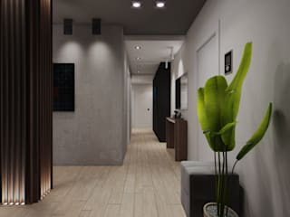 Wide Design Group industrial style corridor, hallway & stairs