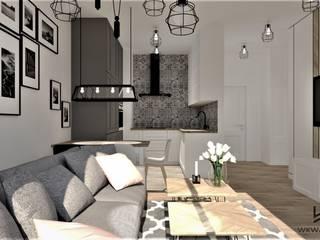 Salon z aneksem kuchennym Wkwadrat Architekt Wnętrz Toruń Małe kuchnie Płyta MDF Biały