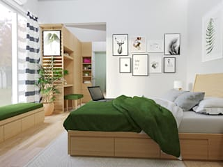viku Scandinavian style bedroom Plywood Multicolored