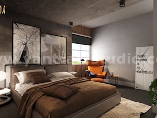 Camera da letto piccola in stile  di Yantram Architectural Design Studio