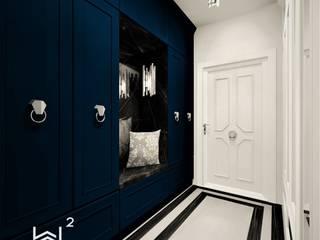 Hol w apartamencie Wkwadrat Architekt Wnętrz Toruń Klasyczny korytarz, przedpokój i schody Płyta MDF Niebieski