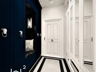 Hol w apartamencie Wkwadrat Architekt Wnętrz Toruń Klasyczny korytarz, przedpokój i schody Plastik Niebieski