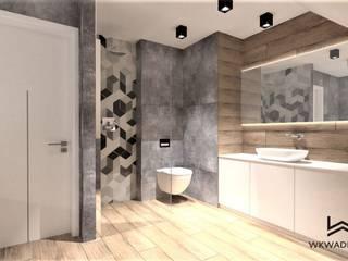 Łazienka z mozaiką heksagonalną Wkwadrat Architekt Wnętrz Toruń Nowoczesna łazienka Beton O efekcie drewna
