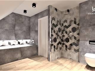Łazienka z mozaiką heksagonalną Wkwadrat Architekt Wnętrz Toruń Nowoczesna łazienka Beton Szary