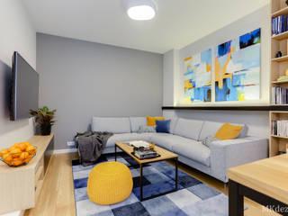 Nowoczesne mieszkanie w Wilanowie Nowoczesny salon od MKdezere projektowanie wnętrz Nowoczesny