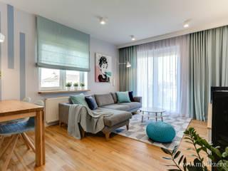 Projekt mieszkania w stylu skandynawskim. Skandynawski salon od MKdezere projektowanie wnętrz Skandynawski